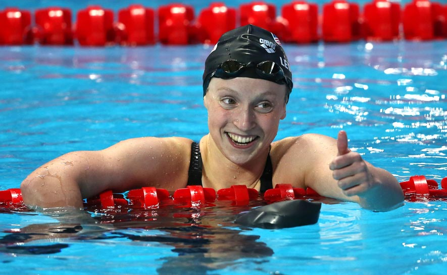 Katie Ledecky smiles after a win at the 2015 World Championships in Kazan