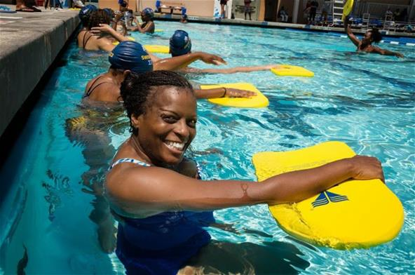Smiling Swimmer at Swim 1922 Clinic 1