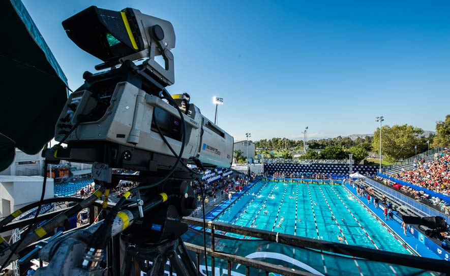 An NBC Camera looks down on the action at the 2010 Pan Pacific Championships in Irvine