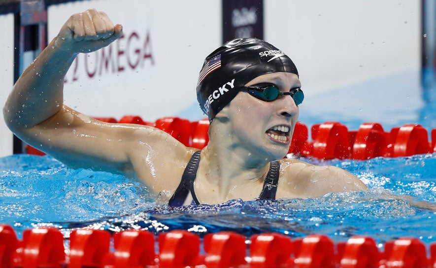 Katie Ledecky celebrates her win in the 400m free at the 2016 Olympic Games in Rio.