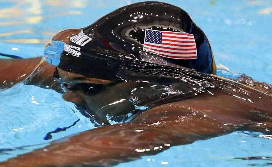 Reece Whitley competes during the FINA World Junior Championships in Indianapolis