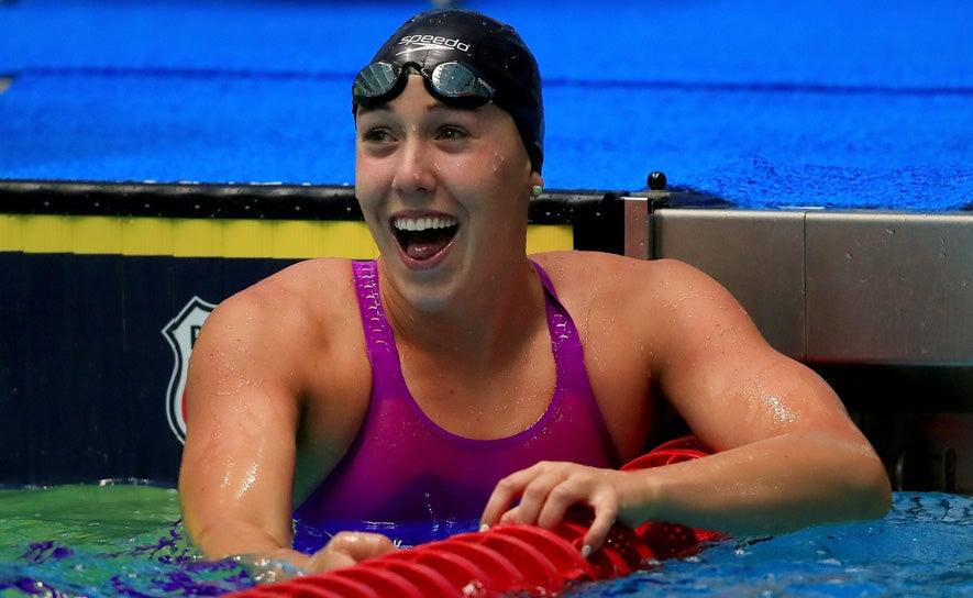 Abbey Weitzeil smiles after her race during the Phillips 66 National Championships