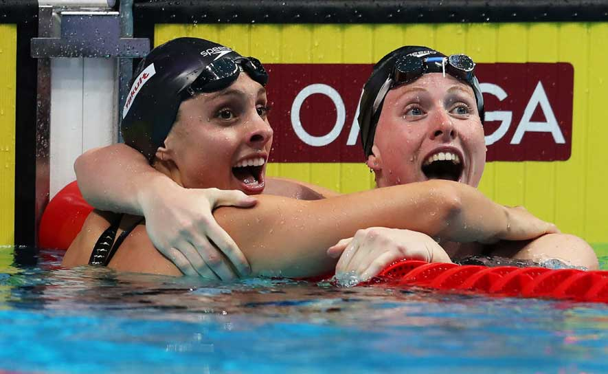 Lilly King and Katie Meili went 1-2 in the 100m breast at Worlds