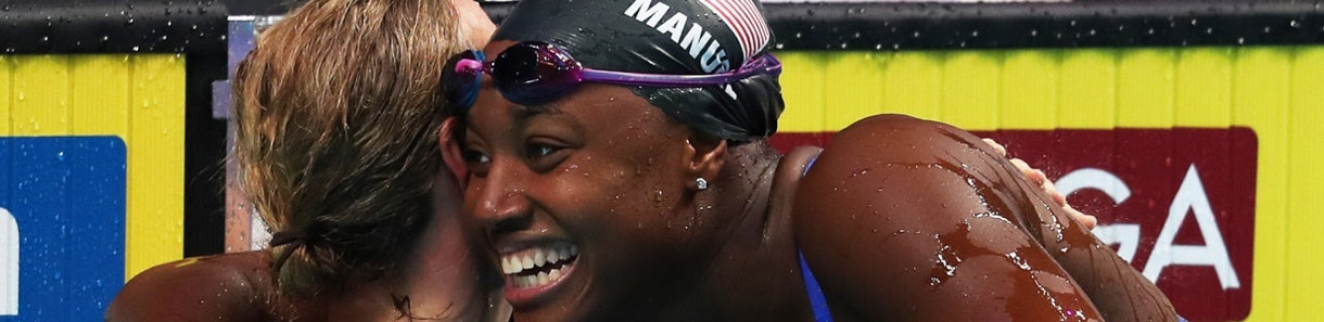 Simone Manuel is all smiles after anchoring the mixed 4x100 medley relay in Budapest