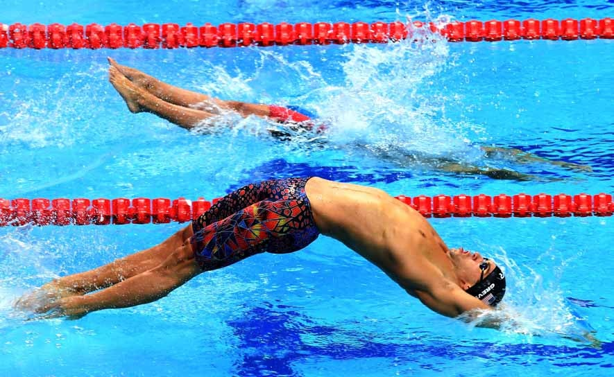 Matt Grevers competes in the 4x100m medley relay in Budapest
