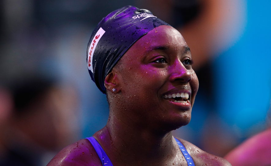 Simone Manuel smiles after the 4x100 medley relay in Budapest