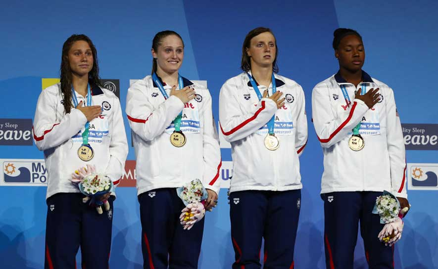 The women's 400m free relay in Budapest, on the medal stand.