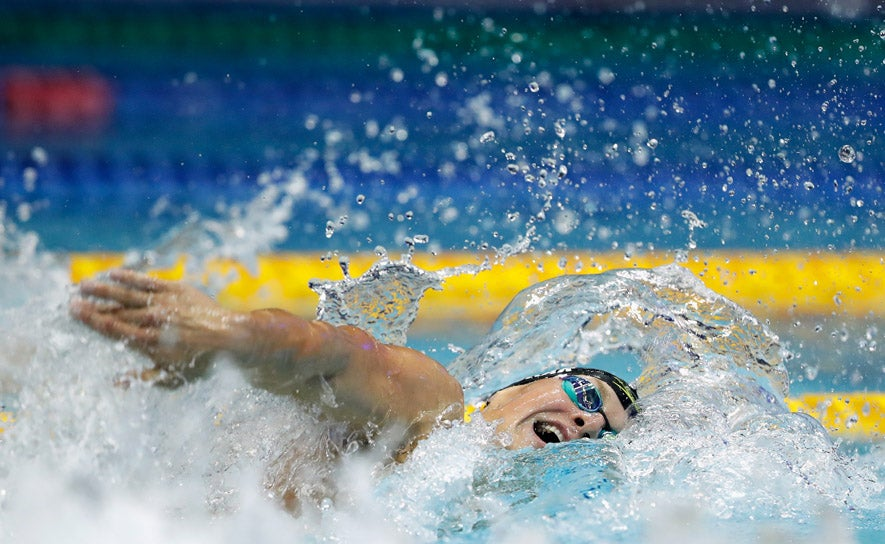 Andrew Seliskar competes in the 200m freestyle at Pan Pacific Championships