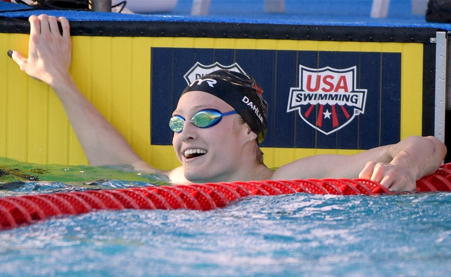 Kelsi Dahlia reacts to her win in the 100m butterfly at Phillips 66 nationals