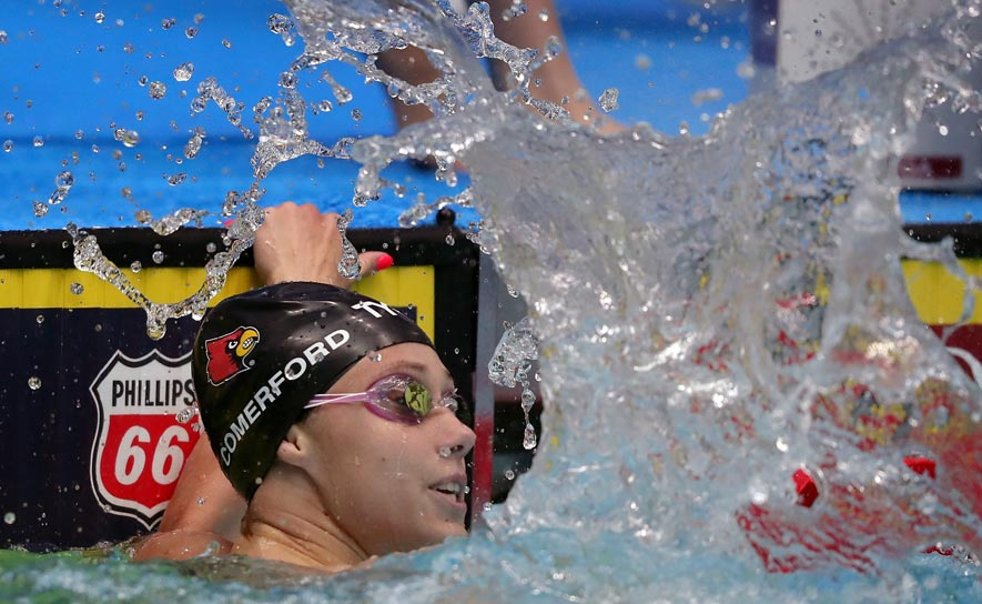 Mallory Comerford celebrates her 100m freestyle win at the Phillips 66 National Championships