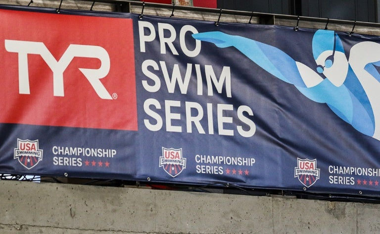 TYR Pro Swim Series signage at Des Moines