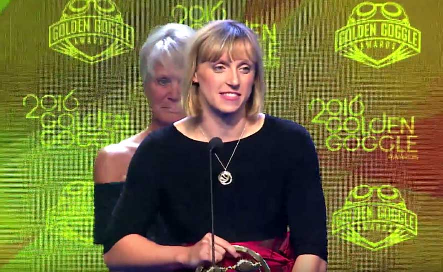 Katie Ledecky at the 2016 Golden Goggle Awards.