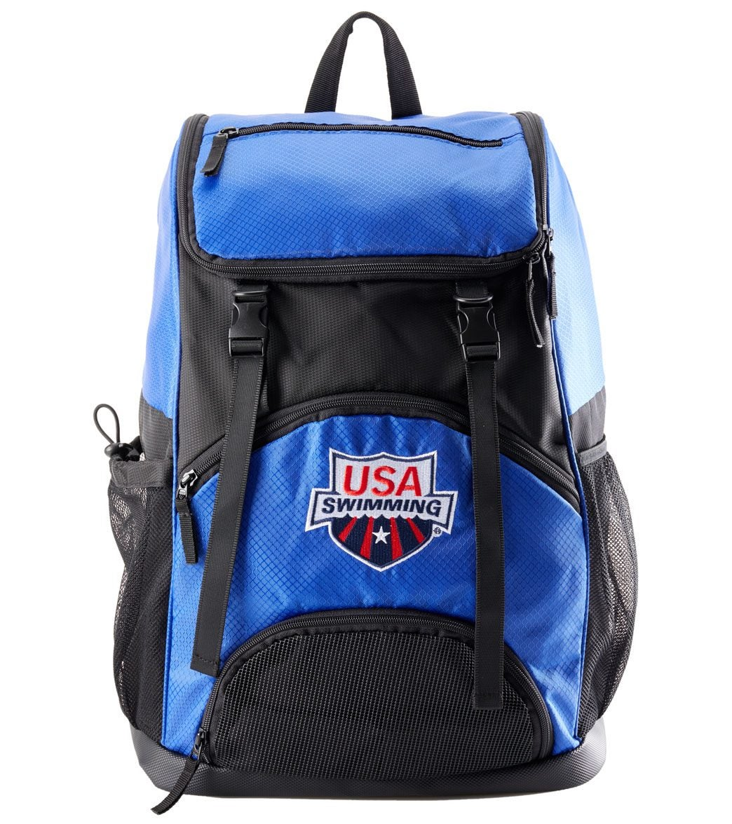 Pack up your competition essentials with the USA Swimming Large Athletic Backpack. Covered with handy compartments like large mesh side pockets and a removable inner dirt back, this backpack has padded straps and a durable waterproof base, making it perfect for the traveling swimmer.|https://www.swimoutlet.com/p/usa-swimming-large-athletic-backpack-8155972/?color=10904|39.95|cal1
