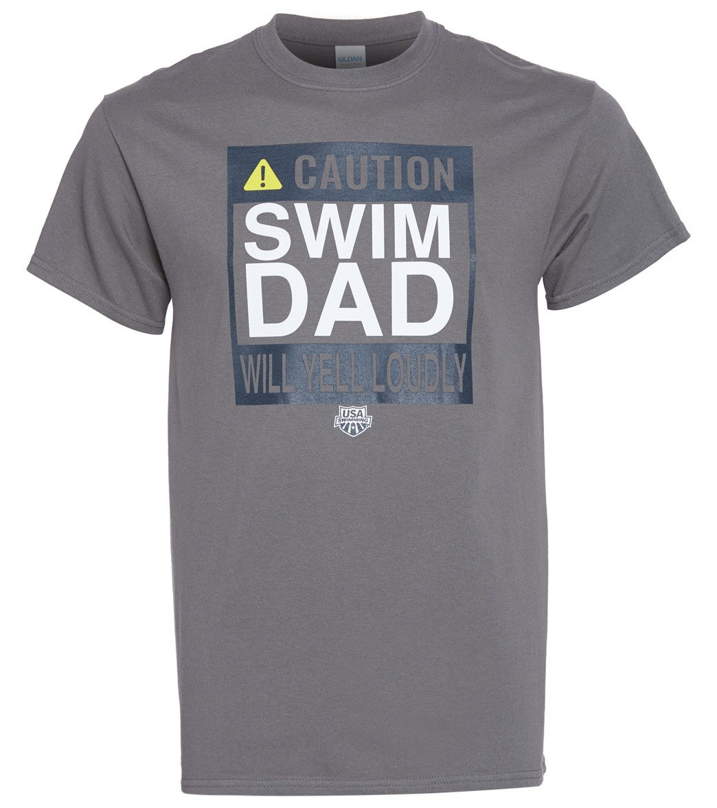 For the Swim Dad in the family, this charcoal grey tee is both stylish and funny recognizing Swim Dads for what they truly are 'Our No.1 Fans!'|https://www.swimoutlet.com/p/usa-swimming-mens-swim-dad-caution-c-neck-t-shirt-8188292/?color=28951|19.95|ftf1