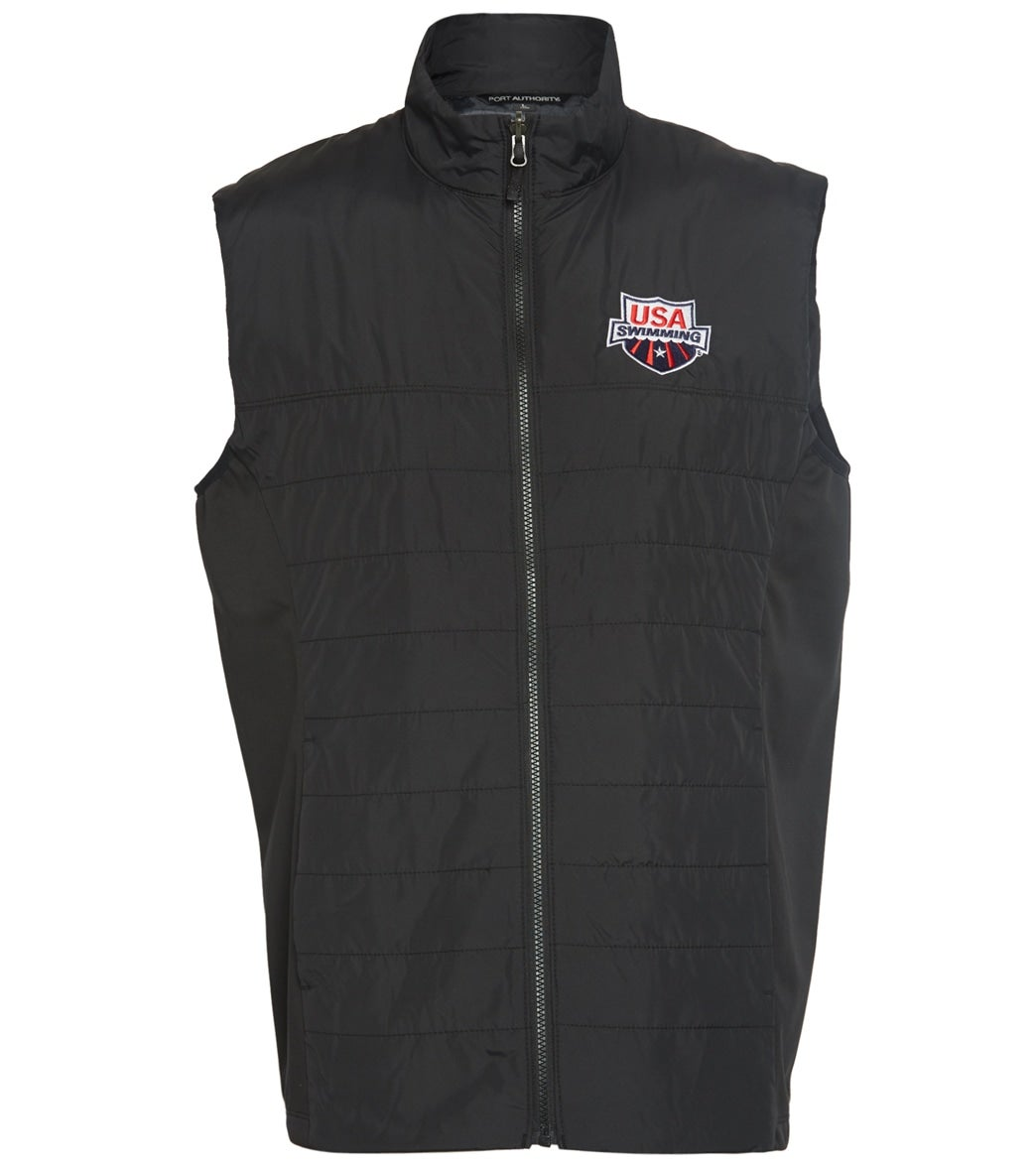 Like any vest, the perfect blend to keep the core warm without overheating, this black vest features horizontal stitching and USA Swimming logo embroidered on chest.|https://www.swimoutlet.com/p/usa-swimming-unisex-insulated-vest-8196334/?color=9325|55.95|ftf3