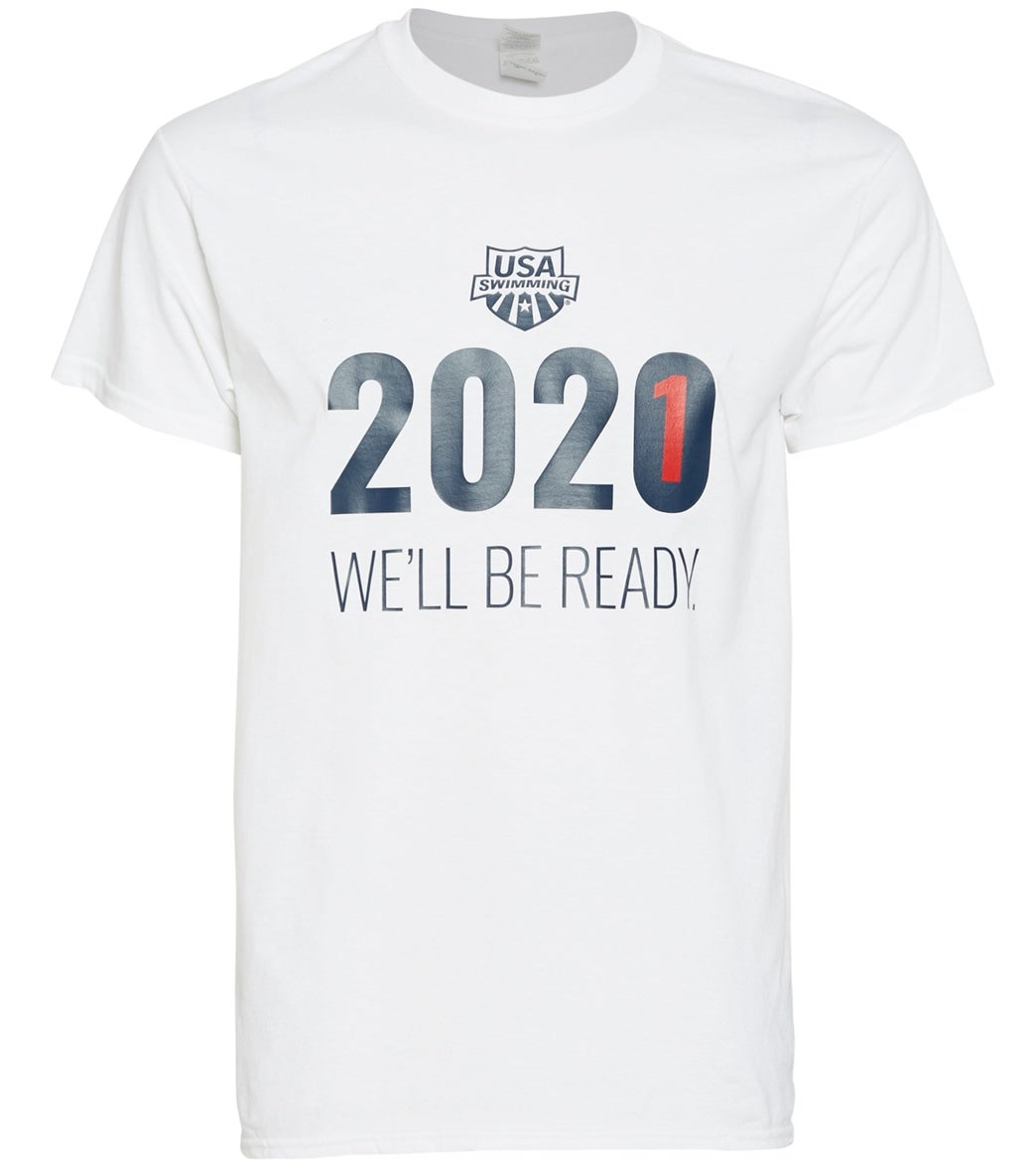 Available in basic colors white, navy and heather gray, this men's tee is sure to highlight that you -- and the swimmers -- are ready for Tokyo in 2021! Proceeds from the sale of this product will go to support U.S. National Team athletes.|https://www.swimoutlet.com/p/usa-swimming-mens-2021-we-will-be-ready-crew-neck-t-shirt-8197128/?color=10890|0|stt2