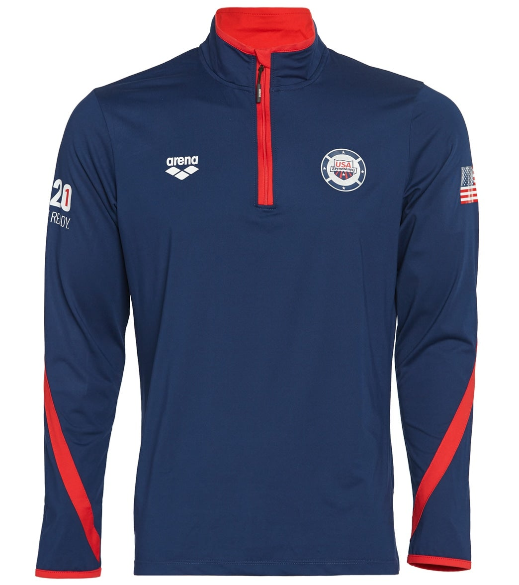 Stay comfortable and show your USA pride with the arena USA Swimming Unisex 2021 We'll Be Ready National Team Tech ½ zip.  This officially licensed USA Swimming tech long-sleeve shirt features a contrast zip and sleeve details, stand-up collar, and exclusive USA National Team mark on left chest. Available in men's and women's styles.|https://www.swimoutlet.com/p/arena-usa-swimming-mens-2021-well-be-ready-national-team-tech-12-zip-long-sleeve-shirt-ii-8197348/?color=9606|0|stt7