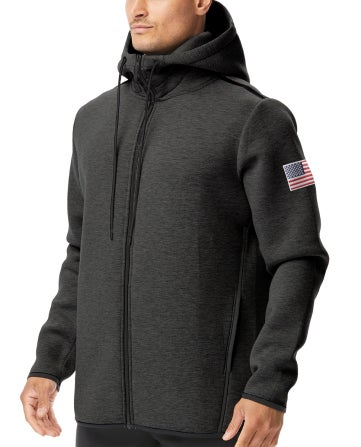 Gear up and feel patriotic in the TYR USA Elite Team Full Zip Hoodie.  With a warm tech knit construction and fully adjustable hood, the Elite Team Hoodie is designed to provide an added layer of coverage when you need it most. Engineered to include convenient pocket storage and a full length zipper, this hoodie is an ideal post-swim pullover.  TYR Fabrication: 78% Polyester / 17% Rayon / 5% Spandex|https://www.tyr.com/shop/ssearch?q=USA%20Elite%20Team%20Full%20ZIP%20Hoodie|34.95|cal3