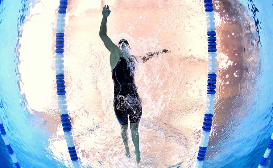 Katie Ledecky swimming at the 2017 Pro Swim Series at Atlanta.