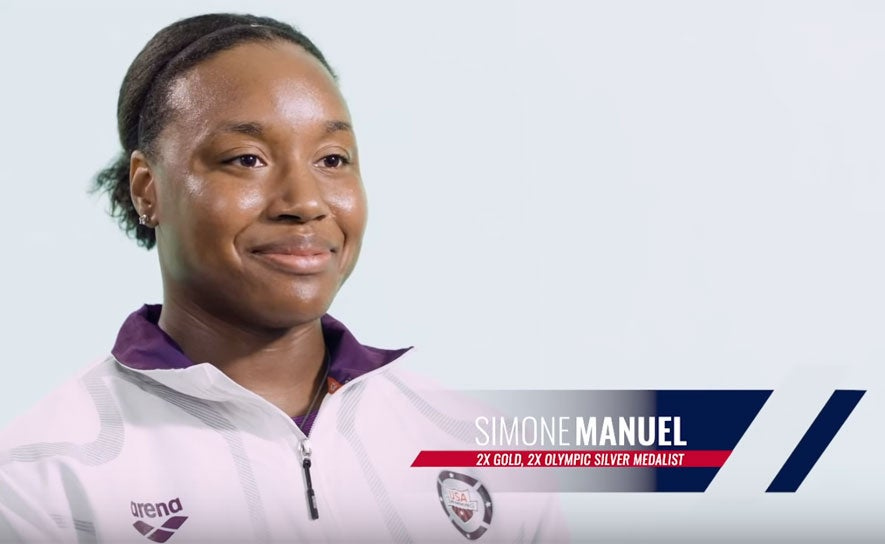 Simone Manuel in a video for the National Junior Team