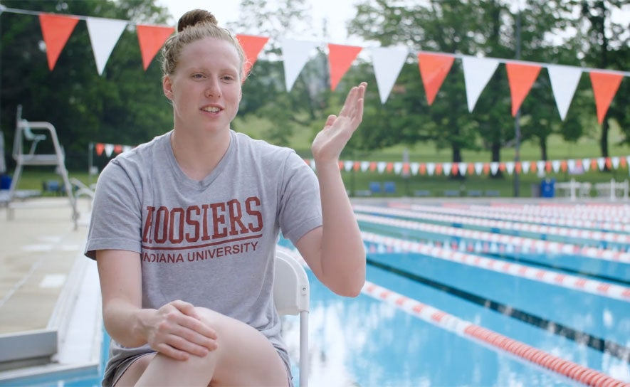 Lilly King does an interview at IU.