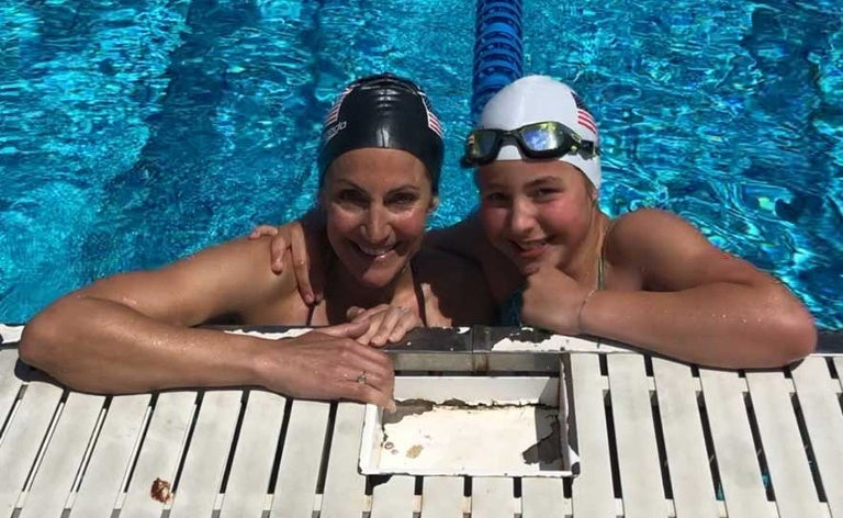 Summer Sanders and daughter Skye in the 1992 Barcelona Pool.